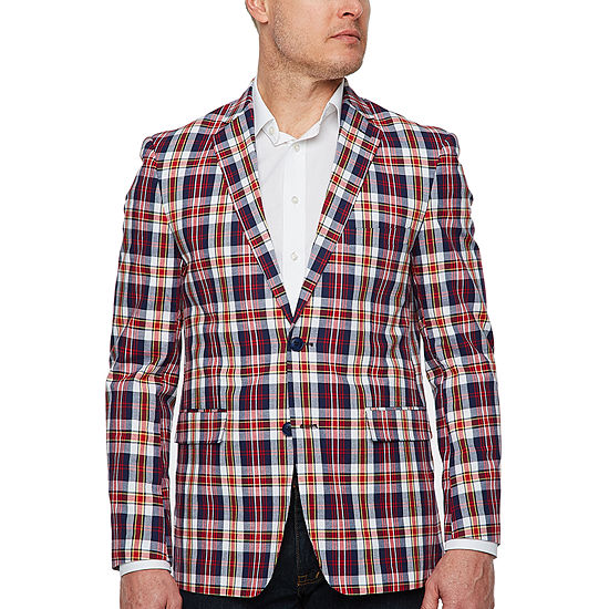 Us Polo Assn. Mens Red and Blue Plaid Classic Fit Sport Coat
