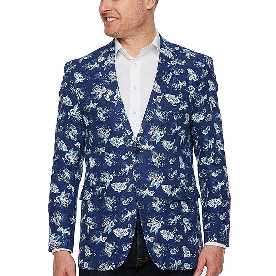 Us Polo Assn. Mens Blue Floral Classic Fit Sport Coat
