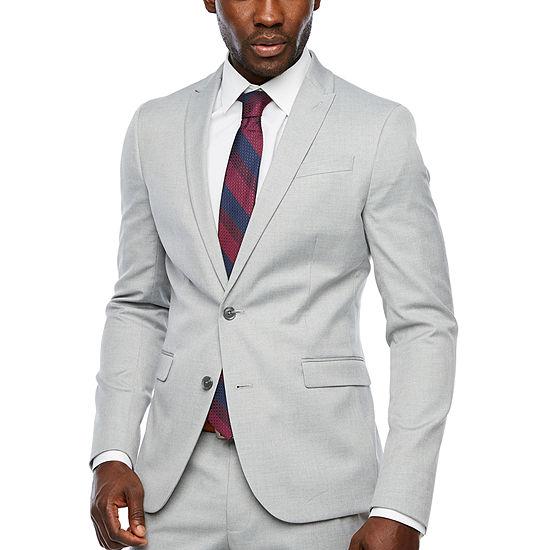 JF J.Ferrar Light Gray Super Slim Fit Suit Jacket