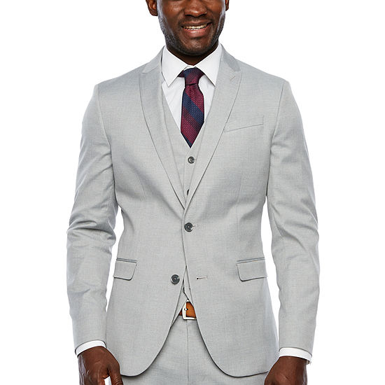JF J.Ferrar Light Gray Slim Fit Suit Jacket