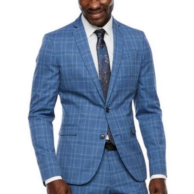 JF J.Ferrar Blue Check Checked Super Slim Fit Stretch Suit Jacket