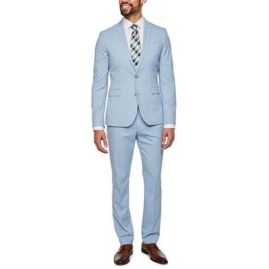 JF J. Ferrar Light Blue Super Slim Suit Separates