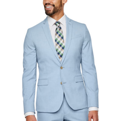 JF J.Ferrar Light Blue Texture Super Slim Fit Stretch Suit Jacket