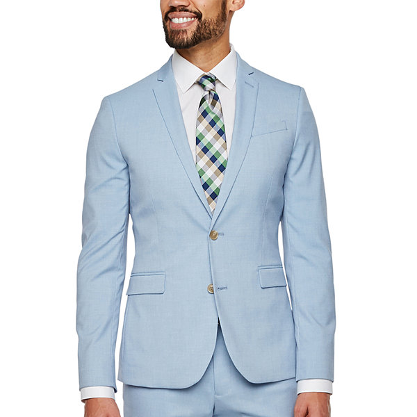 JF J.Ferrar Light Blue Texture Super Slim Fit Stretch Suit Jacket