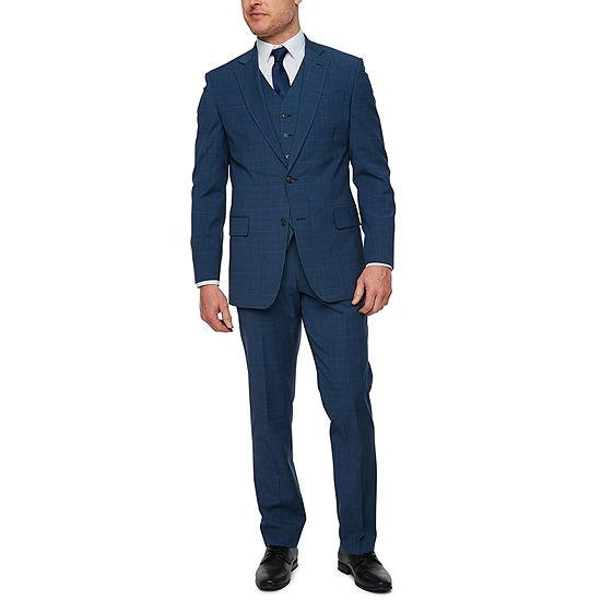 Stafford Super Suit Blue Plaid Classic Fit Suit Separates