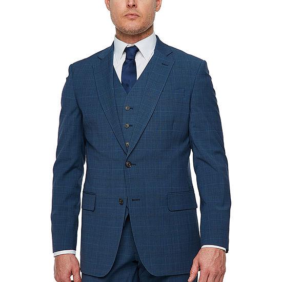 Stafford Super Suit Plaid Classic Fit Stretch Suit Jacket