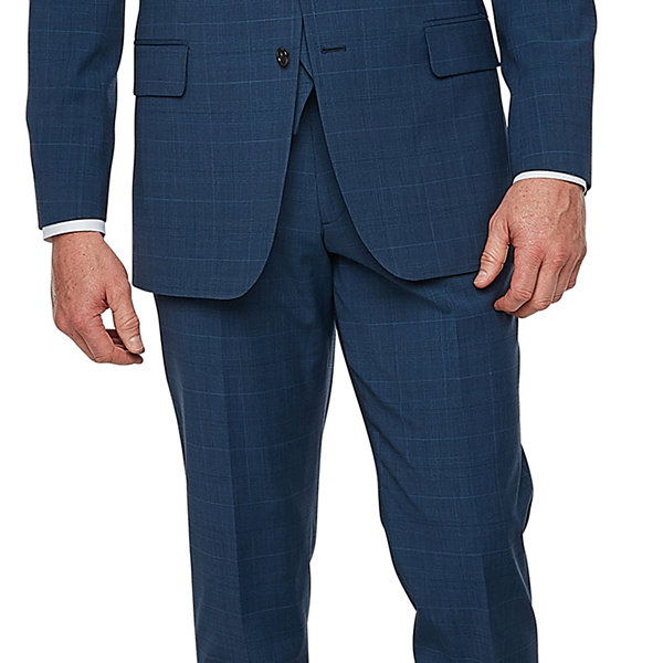 Stafford Super Suit Plaid Classic Fit Stretch Suit Jacket
