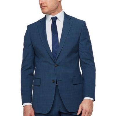 Stafford Super Suit Plaid Slim Fit Stretch Suit Jacket-Slim