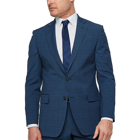 Stafford Super Suit Plaid Slim Fit Stretch Suit Jacket-Slim