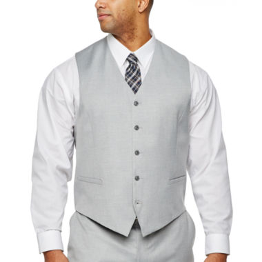 JF J.Ferrar Light Gray Suit Vest- Big & Tall