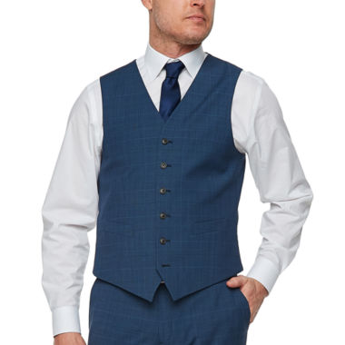 Stafford Super Suit Blue Plaid Classic Fit Stretch Suit Vest
