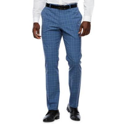 JF J.Ferrar Blue Checked Super Slim Fit Suit Pants
