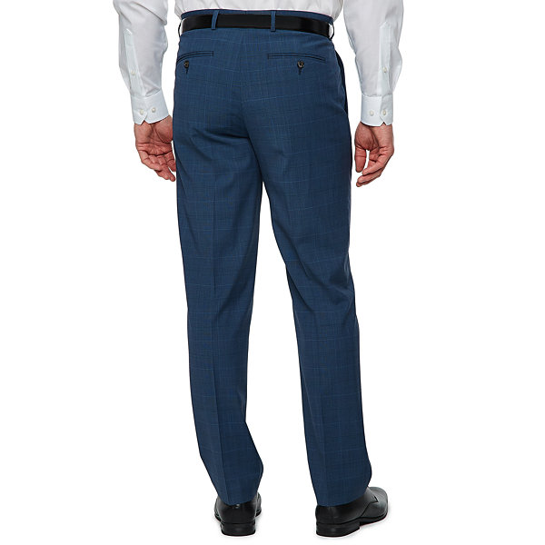 Stafford Super Suit Blue Plaid Suit Pants