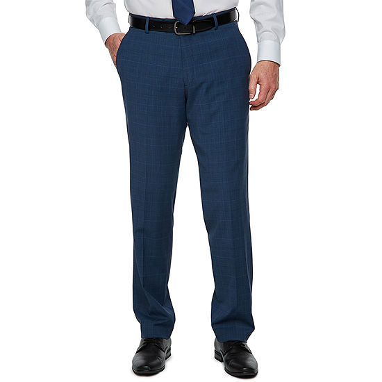 Stafford Super Suit Blue Plaid Suit Pants