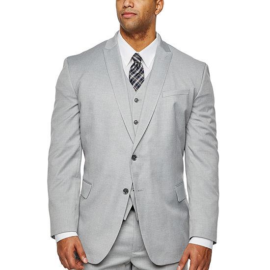 JF J.Ferrar Light Gray Stretch Suit Jacket - Big & Tall