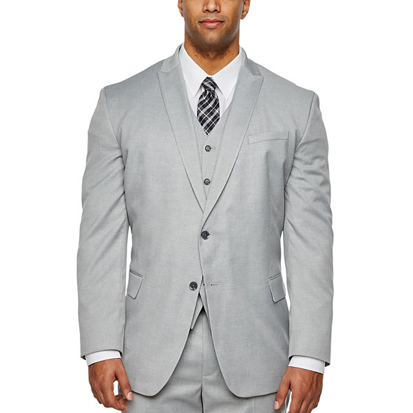 JF J.Ferrar Light Gray Stretch Suit Jacket - Big & Tall