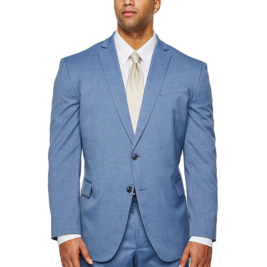 JF J.Ferrar Blue Texture Classic Fit Stretch Suit Jacket-Big and Tall