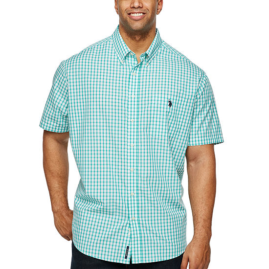 U.S. Polo Assn. Mens Short Sleeve Plaid Button-Front Shirt Big and Tall