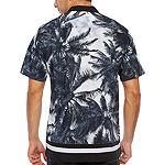 Society Of Threads Slim Fit Palm Print Performance Stretch Camp Short Sleeve Shirt