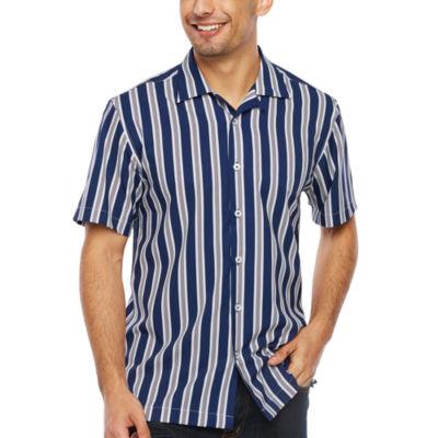 Society Of Threads Slim Fit Stripe Print Performance Stretch Camp Short Sleeve Shirt
