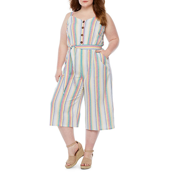 a.n.a Button-Front Woven Stripe Jumpsuit - Plus