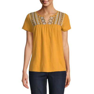 St. John's Bay Embroidered Notch Tee - Tall
