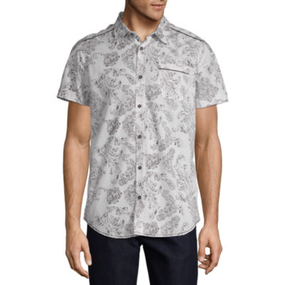 i jeans by Buffalo Mens Short Sleeve Button-Front Shirt