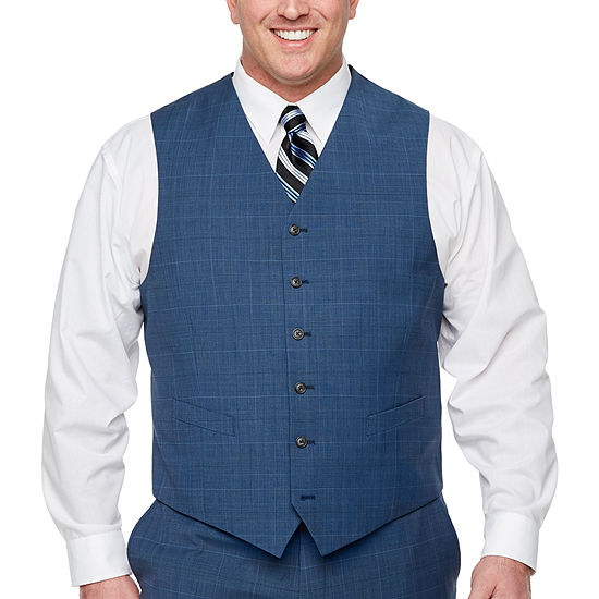 Stafford Super Suit Plaid Classic Fit Stretch Suit Vest - Big and Tall
