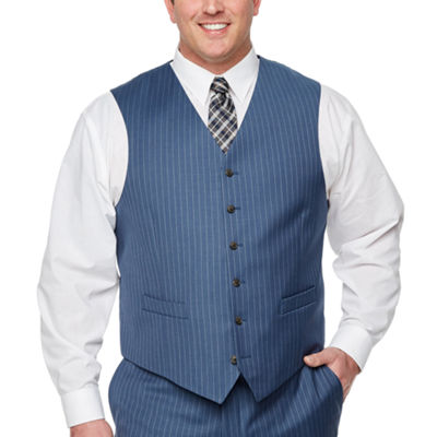 Stafford Striped Classic Fit Stretch Suit Vest - Big and Tall
