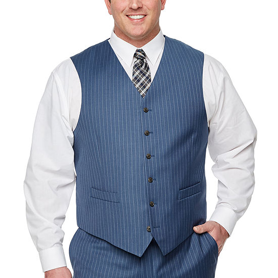 Stafford - Big and Tall Striped Classic Fit Stretch Suit Vest