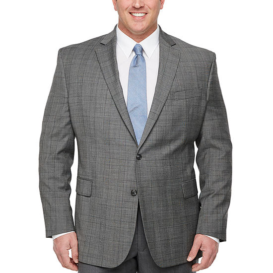 Stafford-Big and Tall Checked Classic Fit Stretch Suit Jacket