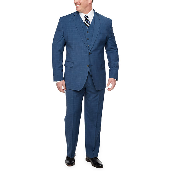 Stafford Super Suit Plaid Classic Fit Stretch Suit Jacket-Big and Tall