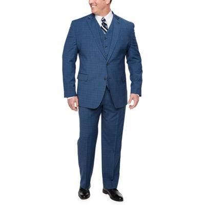 Stafford Super Suit Blue Plaid Big and Tall Suit Separates