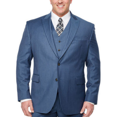 Stafford Striped Classic Fit Stretch Suit Jacket-Big and Tall