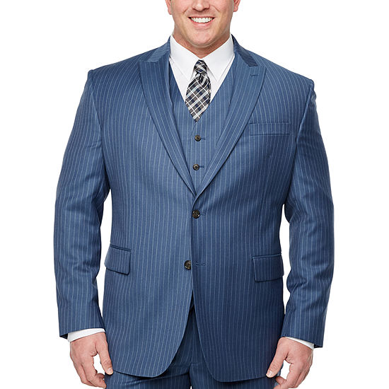 Stafford-Big and Tall Striped Classic Fit Stretch Suit Jacket