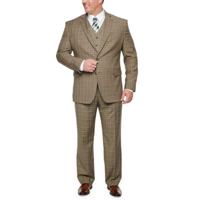 Stafford Travel Tan Plaid Big and Tall Suit Separates