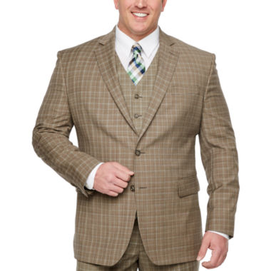 Stafford Plaid Classic Fit Stretch Suit Jacket-Big and Tall