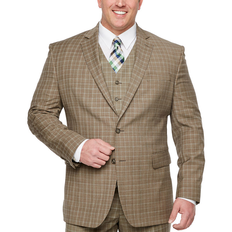 Men's Vintage Style Suits, Classic Suits Stafford-Big and Tall Plaid Classic Fit Stretch Suit Jacket $35.24 AT vintagedancer.com
