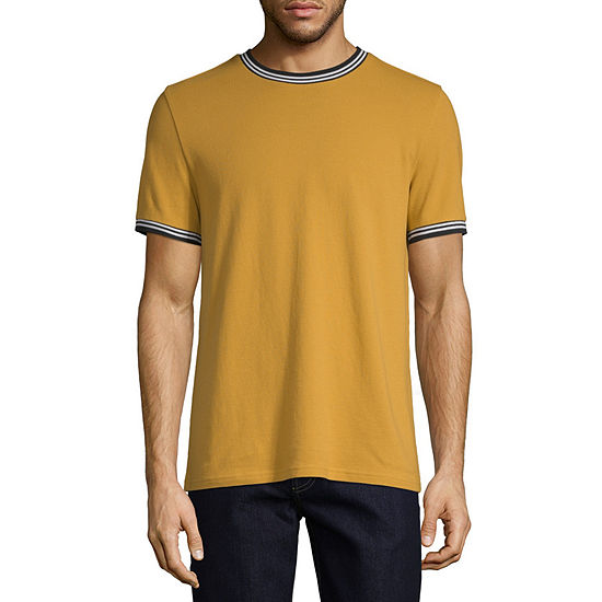 J Ferrar Mens Short Sleeve Tipped Crew Neck Shirt
