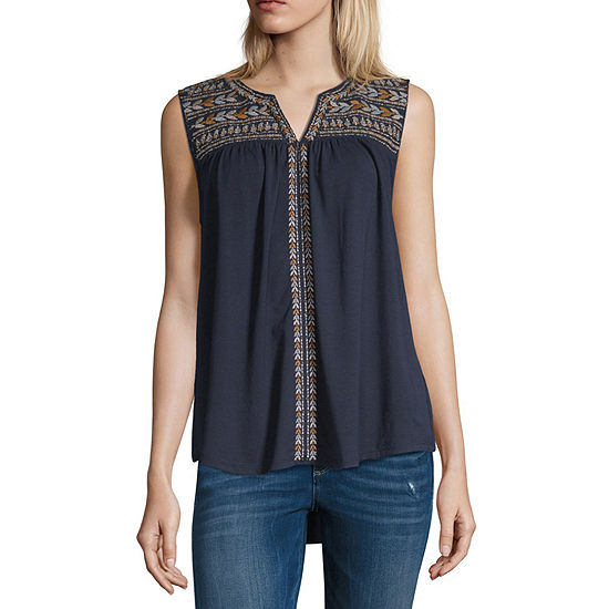 Artesia Womens Split Crew Neck Sleeveless Knit Blouse