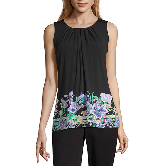 Liz Claiborne Sleeveless Pleated Neck Knit Blouse