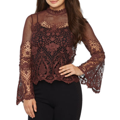 Bold Elements Bell  Sleeve Mock Neck Lace Blouse