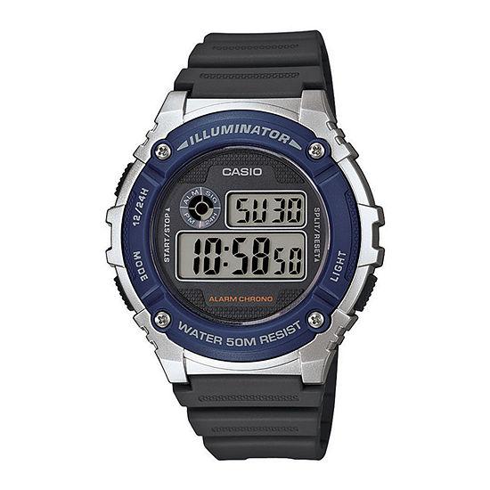 Casio Mens Digital Black Strap Watch-W216h-2av