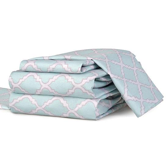 Journee Home 4 pc Microfiber Trellis Sheet Set