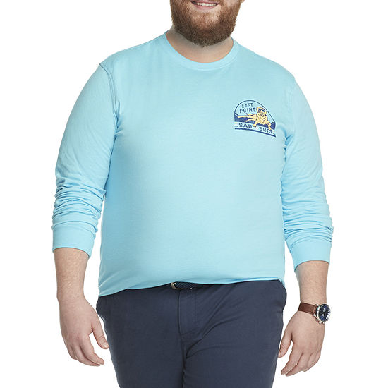 IZOD-Big and Tall Saltwater Mens Crew Neck Long Sleeve Graphic T-Shirt