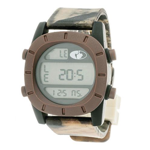 Mossy Oak® Mens Brown Bezel Camouflage Silicone Strap Sport Watch