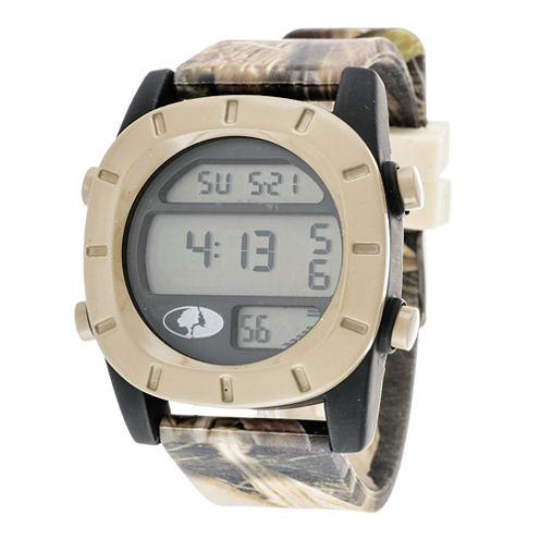Mossy Oak® Mens Beige Bezel Camouflage Silicone Strap Sport Watch