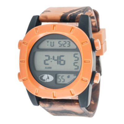 Mossy Oak® Mens Orange Bezel Camouflage Silicone Strap Sport Watch