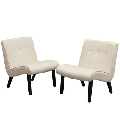 Logan Set of 2 Tufted Slope Slipper Chairs