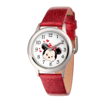 Disney Tsum Tsum Girls Red Strap Watch-Wds000122